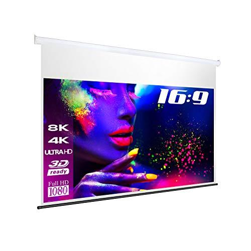 Esmart Professional Mimoto Akustik Motor-Leinwand [Gröÿenauswahl] 221 X 125 Cm (100\) 16.9 | Programmierbare Fernbedienung | Heimkino Elektrische Beamer Projektionsleinwand Motor Leinwand LCD Led