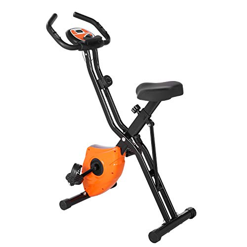 Profun Bicicleta Estática Plegable App 10 Niveles de Resistencia Magnética, Bicicleta de Ejercicios con Tableta/Soporte para Teléfono y Asiento Grande y Cómodo