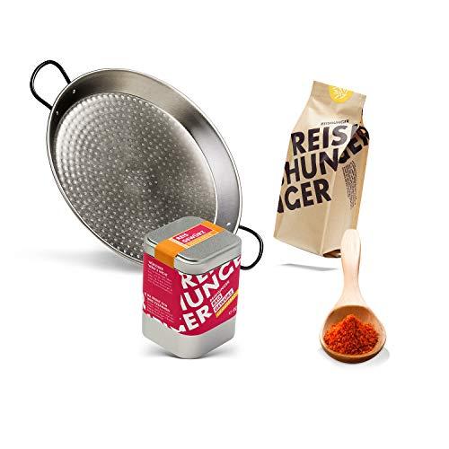 Reishunger Paella Pfannen Set für echt spanische Paella, 4-teilig für 4 Personen (auch für 8 oder 16 Personen) - Mit Pfanne (Paellera), Paella Reis der Sorte Bomba, Paellagewürz und Gemüsebrühe