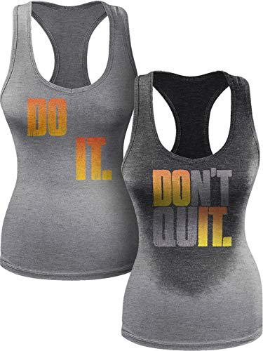 Actizio Sweat Activated Funny Workout Women's Tank Top, Do It - Don't Quit (Athletic Heather, M)
