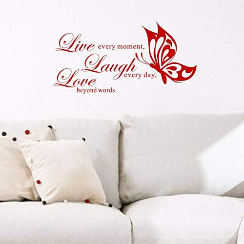 60X30Cm Live Laugh Love Art Pegatinas De Pared Rojas Mariposas Pinturas Pegatinas De Pared Decorativas Calcomanías De Vinilo Adhesivas