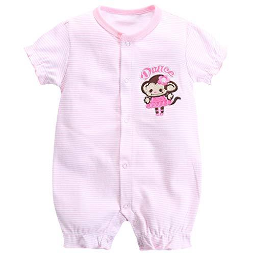 Bebé Mono Manga Corta Mameluco Verano Niñas Pelele Pijama de Algodón Trajes Caricatura Raya 0-3 Meses