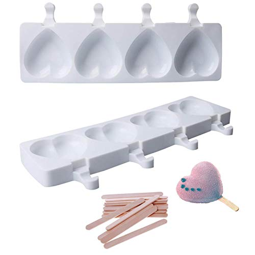 ZIIVARD Ice Pop Molds 40 Packs Wooden Stick Silicone 4 Holes Heart Shaped Popsicle Molds DIY Chocolate Dessert Mould Making Tool