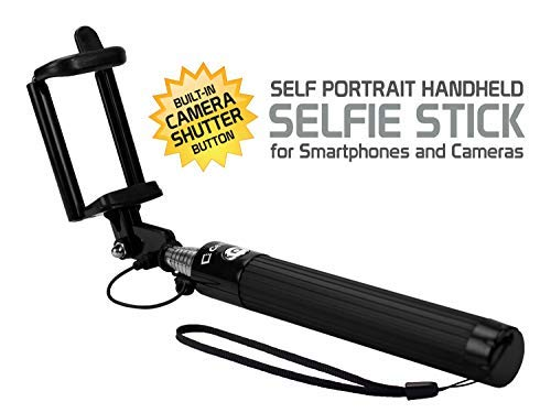 Cellet Selfie Stick Extendable Adjustable, Compatible for Apple iPhone 6/6 Plus/5/4,Samsung Note 9/8/5 Galaxy S9/S8/S7/S6/A6/J7/J3 LG Stylo 4/3/2,V40 ThinQ,Motorola Smart Phones and Cameras - Black