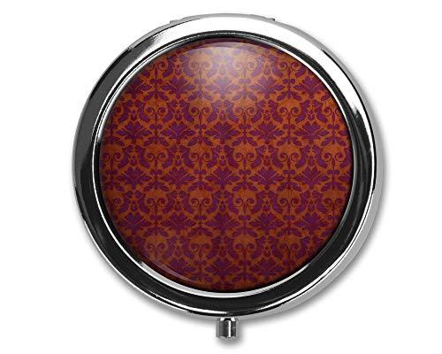 Diseño de cortinas antiguas Pastillero redondo/Pastillero/Pastillero/Estuche- Pastillero de tres compartimentos/Pastillero
