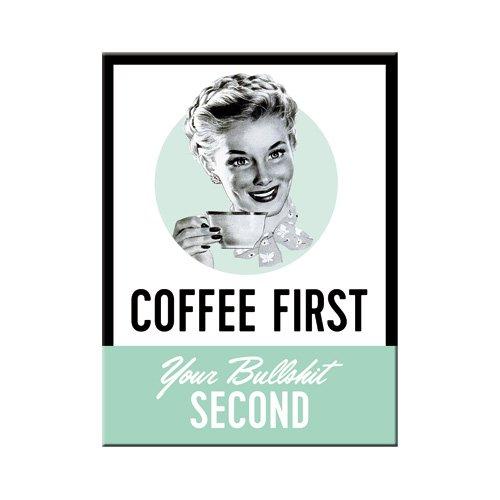 Nostalgic-Art 14349, Say it 50's Coffee First, Magnet 8x6 cm, Kraftmagnet mit Metalloberffläche, bunt, 8 x 6 x 0.2 cm