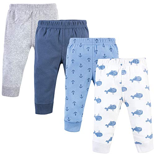 Hudson Baby Unisex Baby Cotton Pants and Leggings, Blue Whales, 3-6 Months