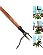 Grampa's Weeder - het originele opstaande onkruidtrekker met lang handvat - gemaakt met echt bamboe en 4-klauw stalen kopontwerp - gemakkelijk onkruid verwijderen zonder te buigen, trekken of te knielen