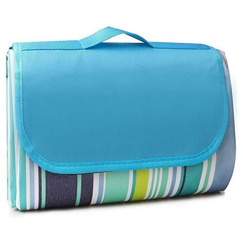 XiuLi 200 x 200 cm Picknickdecke XXL Stranddecke aus Premium Oxford Stoff Wasserdicht groß Faltbar Leicht mit Tragegriff Matte Decke für Camping Picknick Reise (Blue&Grey)