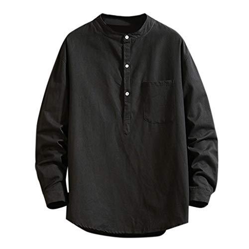 LANSKIRT Camisetas Hombre Originales Divertidas Camisas Casual de Otoño de Manga Larga Polos Color Sólido Invierno Blusa Suelta Sudaderas Sin Capucha Divertidas Talla Grande