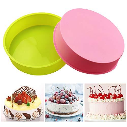 SUNSK Molde de Silicona para Tartas Moldes Redondos 8 Pulgadas Antiadherente Quiche Molde Silicone Cake Molds para Hornear Pasteles y Repostería 2 Piezas