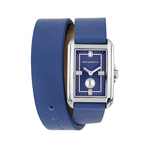 Karl LAGERFELD 5552745 - Reloj de pulsera para mujer (correa de piel azul, 20 x 31 mm, mecanismo de cuarzo)