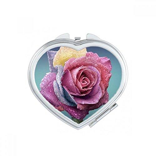 DIYthinker Old Pink Roses Fleurs Coeur Maquillage Compact Miroir de Poche Miroirs Mignon Petit Cadeau Portable à la Main Multicolor