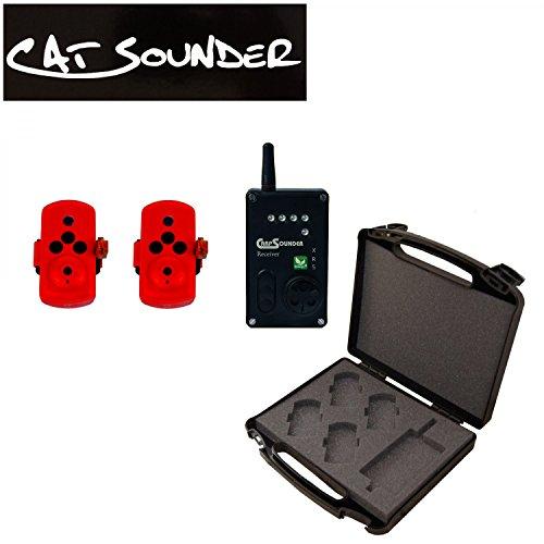 Catsounder XRS 2er Set (Fireorange) - 2 Wallerbissanzeiger + Receiver, Bissanzeiger zum Welsangeln, Welsbissanzeiger zum Ansitzangeln auf Waller
