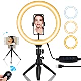 OOWOLF Luce Anello LED 10'' TIK Tok con Treppiede, Ring Light LED con Bluetooth, Luce Anel...