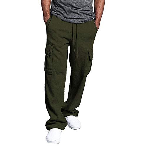 Vexiangni Cordón y pantalones de entrenamiento para gimnasio, vacaciones, jogging, entrenamiento, fitness, tiempo libre, de lino, con cordón, sueltos, pernera ancha y recta., Verde militar., XL