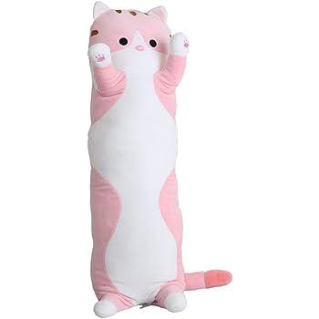 unlockgift Cuddly Long Cat Stuffed Animal Toy Plush Cat Pillow Birthday Gift 27.5
