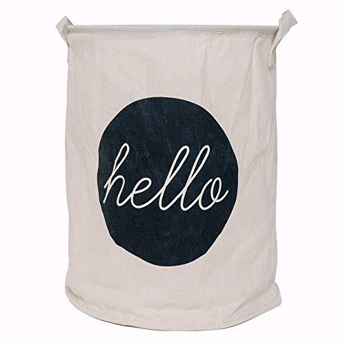 Lifestyle Lover Wäschekorb aus Baumwolle Stoff faltbar für Schmutzwäsche, Spielzeug, Aufbewahrungskorb, Organizer (Hello)