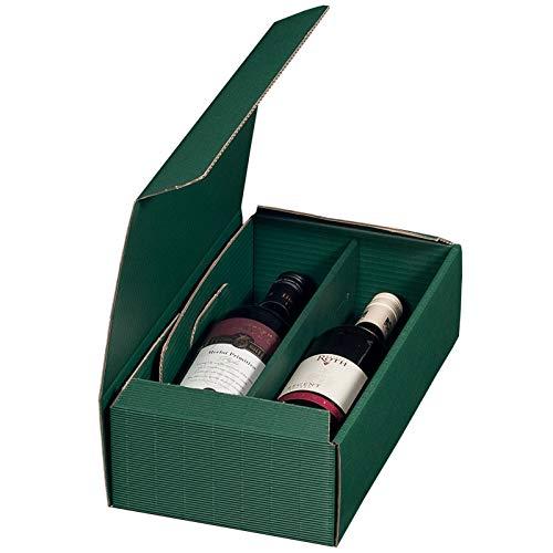 KK Verpackungen® Weinverpackung | 25 Stück, Geschenkkarton für eine Flasche Wein in Grün | Wein-Flaschenverpackung aus offener Dekorwellpappe
