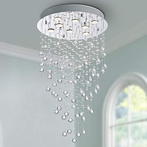 Bestier Moderno cristallo goccia di pioggia lampadario illuminazione a incasso LED plafoniera lampada a sospensione per sala da pranzo bagno camera da letto soggiorno 8 GU10 LED Lampadine richiesto