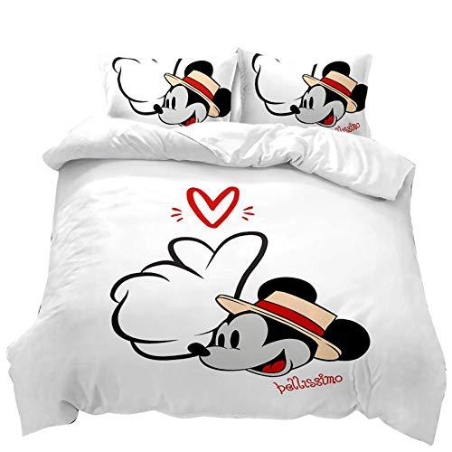 DAMEILI Disney Mickey y Minnie Mouse Juego de cama, funda de edredón y funda de almohada, microfibra, impresión digital 3D, 2/3 piezas (altura 135 x 200 cm)