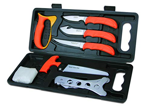 Outdoor Edge WildPak, 8-Piece Field to Freezer Hunting & Game Processing Knife Set with Caping Knife, Gut-Hook Skinner, Boning/Fillet Knife, Wood/Bone Saw, Spreader, Gloves, and Hard-Side Carry Case
