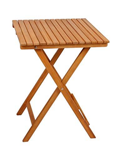Spetebo Balkontisch aus Akazien Holz - 72x55x55 cm - Holz Biergarten Bistrotisch Klapptisch Garten Tisch