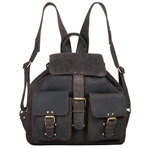 STILORD'Larissa' Vintage Rucksack Leder Damen Rucksackhandtasche Lederrucksack Handtasche DIN A4 City Shopping Daypack Schule Uni, Farbe:dunkel - braun