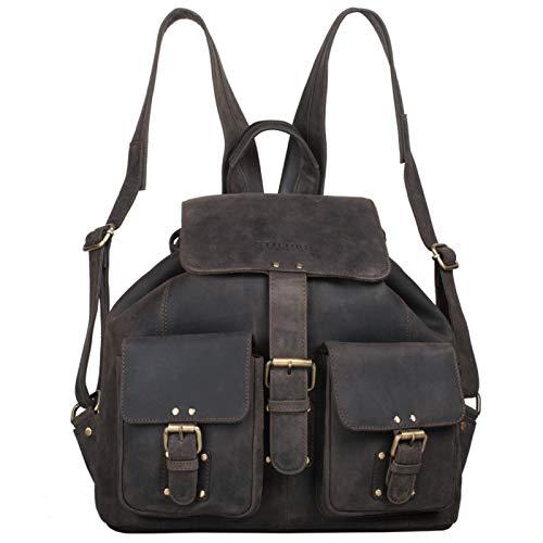 STILORD \'Larissa\' Vintage Rucksack Leder Damen Rucksackhandtasche Lederrucksack Handtasche DIN A4 City Shopping Daypack Schule Uni, Farbe:dunkel - braun