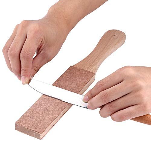HshDUti Holz Messerschärfer Doppelseitenmesser Rasiermesser Schärfstreifen Lederschärfer Polierwerkzeug Set light pink