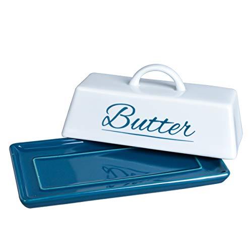 Butterdose aus Keramik mit Deckel und Griff für Arbeitsplatte, Kühlschrank, perfekt für East West Coast Butterdose Blau