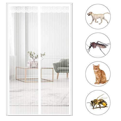 THAIKER Mosquitera Puerta Magnetica, 80x200cm(31x79inch) Mosquiteras Enrollables Magnética Automático Mantiene los Mosquitos de Insectos Fuera para Puertas Correderas, Blanco