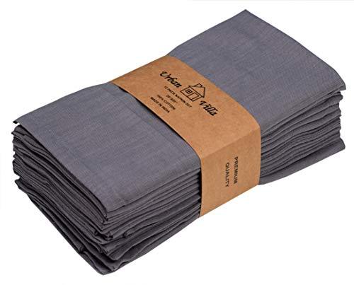 Urban Villa Solid Slub Aqua ColorDinner Servietten Täglich verwenden Premium Quality 100% Cotton Slub Set mit 12 Größen 20X20 Zoll übergroßen Stoffservietten 12er Set Grau