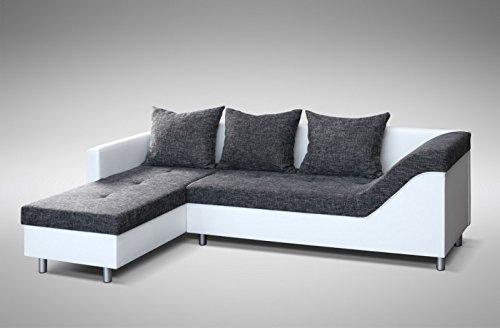 Küchen-Preisbombe Sofa Couch Ecksofa Eckcouch Sofagarnitur in Weiss/Graubraun - Lissabon 2- L