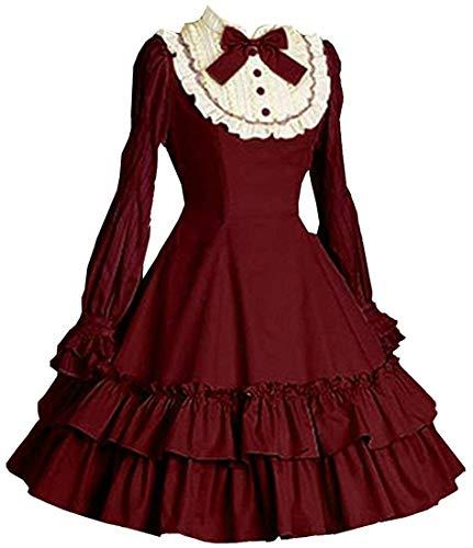 TXGZ Vestido clásico de manga larga para mujer con múltiples capas (color: rojo vino, talla: XS)
