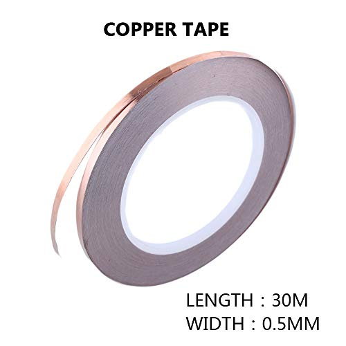 Cinta conductora de blindaje, cinta de lámina de cobre sólido de 1 pz. Con adhesivo de blindaje conductivo Emi para circuitos de papel/reparaciones eléctricas