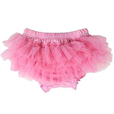 juDanzy Ruffle Chiffon or Satin Tutu All Around Bloomer Diaper Cover (6-24 Months, Pink)