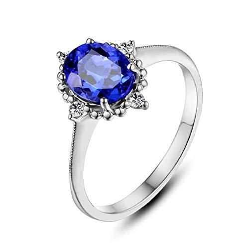 Ubestlove Gelbgold Ring 750 Damen Geschenk Mutter 80 Ovale Form 1.3Ct Tansanit Ring 1.3Ct 60
