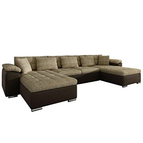 Mirjan24 Ecksofa Wicenza! Design Big Sofa Eckcouch Couch! mit Schlaffunktion Bettfunktion! Wohnlandschaft! U-Form, Große Farbauswahl (Soft 066 + Lawa 02)