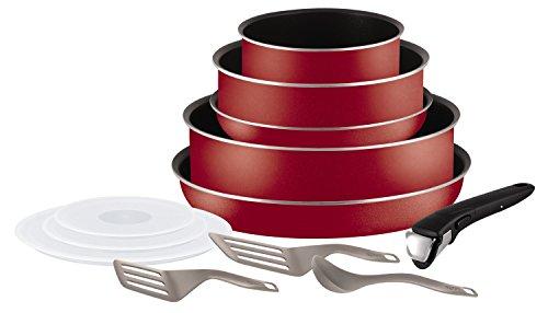 Tefal L2059102 Ingenio 5 Essential - Juego de sartenes y cacerolas, 12 Piezas, aptas para inducción, Color Rojo Bugatti