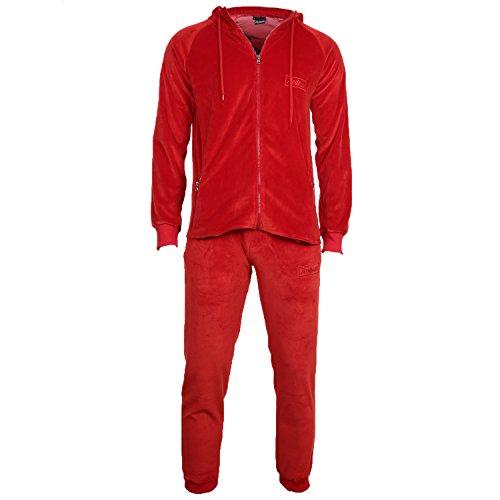 REDRUM Trainingsanzug Joggingset Jacke Hose Kapuze Cortina Velo Velour Anzug (Rot, L)