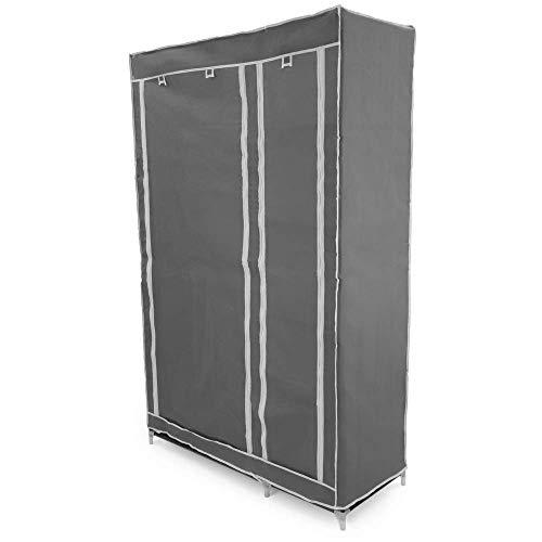 PrimeMatik - Garderobe kast kast verwijderbare stof 110 x 45 x 175 cm dubbel grijs met roldeuren