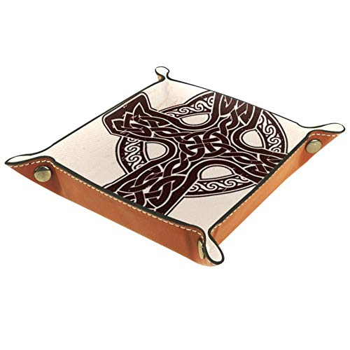 Storage Tray Old Brown Celtic Cross Desk Storage Plate for Key Wallet Coin Jewelry Phone Home Decor