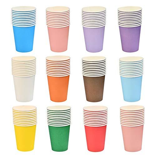 BUYGOO 120Pcs Vasos de Papel Desechable para Fiesta de 9 onzas en frío y en Caliente 12 Vasos de Papel Multicolores Actividades de Fiestas al Aire Libre para Bodas