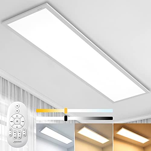 Lámpara de Techo Panel LED Regulable de 100 x 25 cm con Mando a Distancia, 28W Panel Plano de Techo, 2700K - 6500K, Blanco Cálido Natural y Frío Lámpara Para Oficina Taller o Salón Balcón
