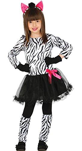 Guirca- Zebra Kostüm für Kinder, Weiß/Schwarz, 5-6 Jahre, 83229