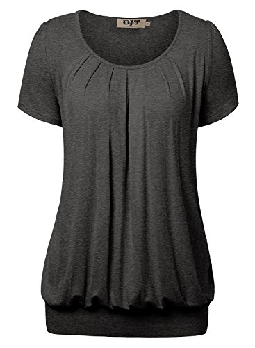DJT Damen Casual Falten Kurzarm T-Shirt Kurzarmshirt Rundhals Stretch Tunika Dunkelgrau XL