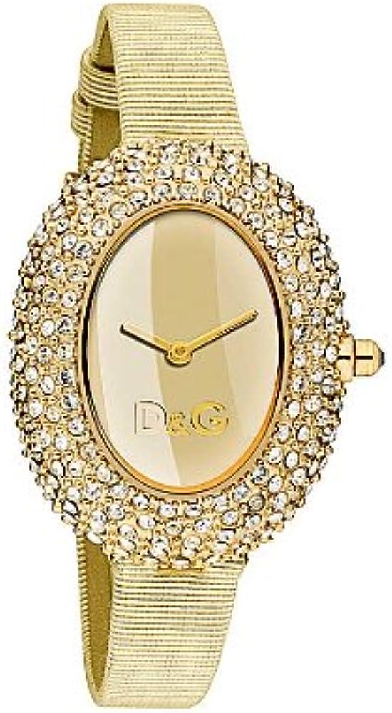 D&g dolce & gabbana,orologio per donna,cassa in acciaio tempestata di critalli,cinturino in pelle colore oro DW0376