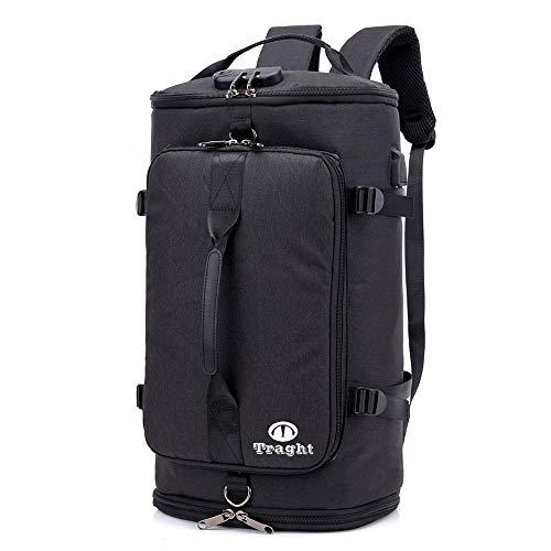 TRAGHT スポーツバッグ ボストンバック ジムバック リュック 4way リュック型可能 大容量 USB充電ポート 盗難防止 軽量 旅行出張も適用 多機能 男女兼用 錠 シューズ収納部付き (ブラック)