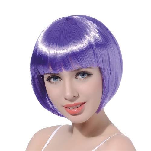 Oyfel Perruque synthétique bob Courte Lisse Mode épaule Longueur Droite Perruque Femme Fille Unisexe Coupe carré Court Multicolore Costume Halloween Cosplay Purple
